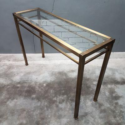 Vintage Brass U0026 Cut Glass Console Table, ...
