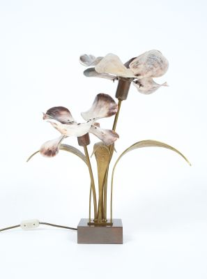 Mid Century Bronze, Brass And Capiz Shell Lamp By Willy Daro, 1960s 6