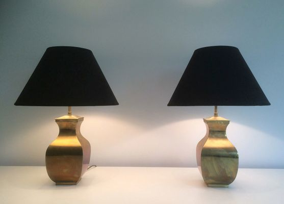 Post modern brass table lamps set of 2 9