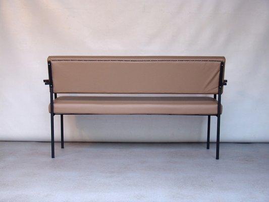 Vintage Beige Vinyl Sofa Bench 3