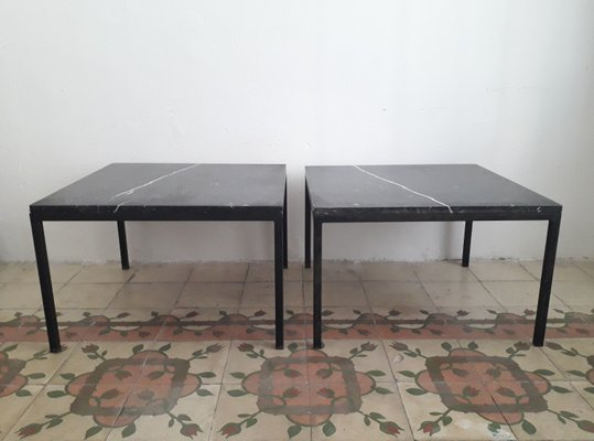 Vintage Metal and Marble Top Side Tables Set of 2 2 & Vintage Metal and Marble Top Side Tables Set of 2 for sale at Pamono