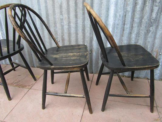 Vintage Wooden Bowback Dining Chairs, Set Of 4 12