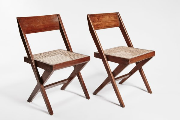 Nice Teak And Wicker Library Chairs By Pierre Jeanneret, Set Of 2 1