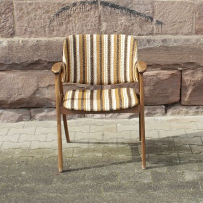 Vintage Scandinavian Style Armchair With Striped Upholstery 1