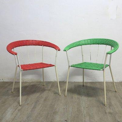 Sillas de jardín alemanas vintage en rojo y verde. Juego de 2 en ...