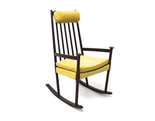 Beechwood Scandinavian Rocking Chair, 1960s 1