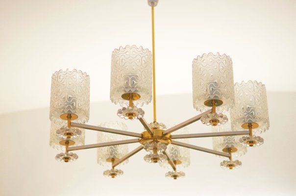 Vintage brass and glass chandelier from austria 1970s for sale at vintage brass and glass chandelier from austria 1970s 1 mozeypictures Gallery