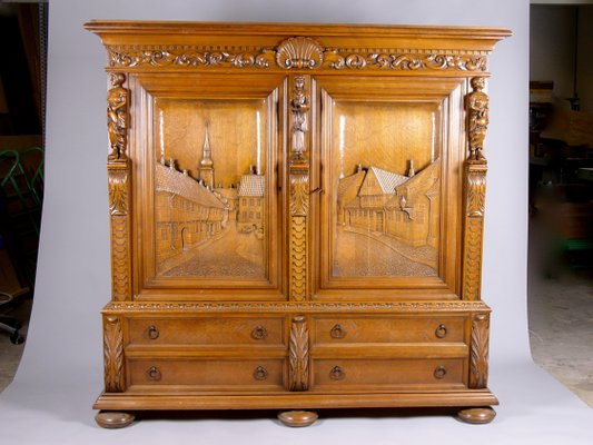 Large Oak Cabinet With Hand Carved Doors From E Bgh 1950s For