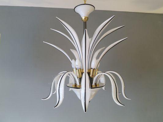 Lampadario a forma di pianta in vetro di Murano bianco, Italia in ...