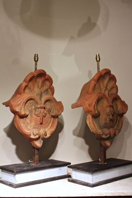 Antique French Terracotta Table Lamps, Set Of 2 3