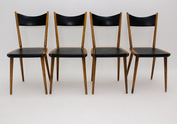 Beechwood And Skai Dining Chairs, Set Of 4, 1950s 1
