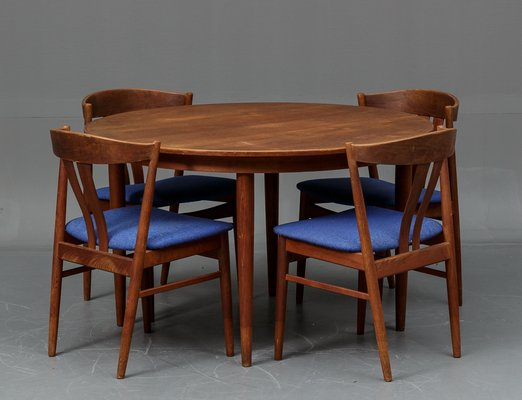 Danish Teak Dining Table With 4 Chairs From Vejle Stole Og Mobelfabrik,  1960s 1