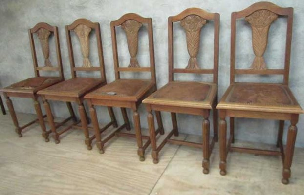 Belgium Art Deco Chairs, 1930s, Set Of 5