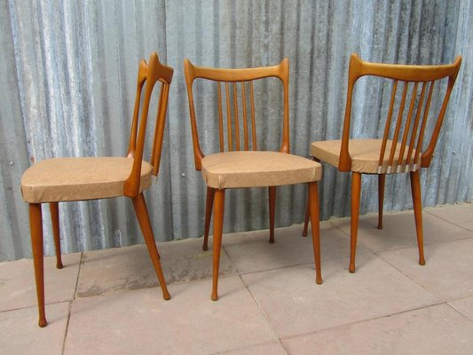 Dutch Beech Dining Chairs From Stevens, 1950s, Set Of 3 3