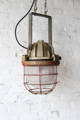 Vintage Industrial Cage Lamp from Mapelec for sale at Pamono
