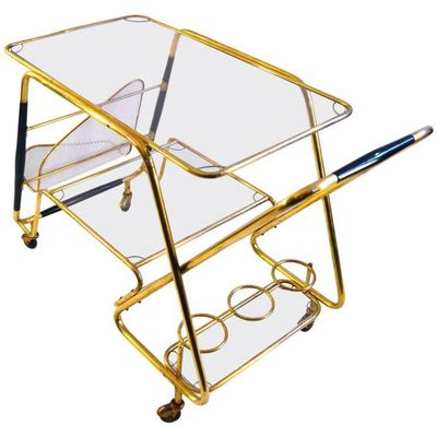 Vintage Large Italian Bar Cart By Cesare Lacca 1