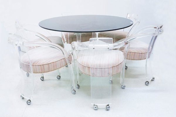 Lucite Dining Table 6 Chairs Set by Charles Hollis Jones 1960s