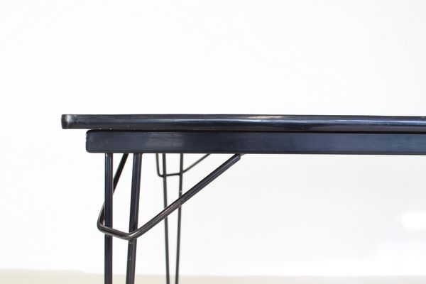 Industrial Dutch Dining Table with Black Steel Wire Frame, 1965 for ...