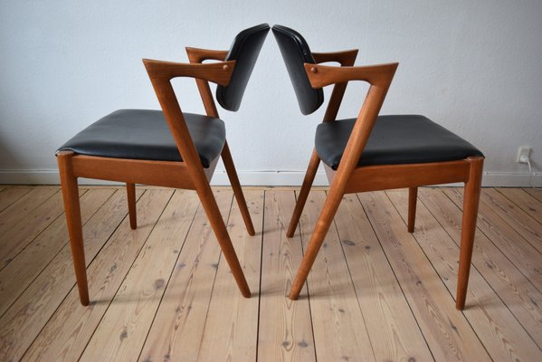 Model 42 Teak Dining Chairs By Kai Kristiansen For Schou Andersen, 1960s,  Set Of