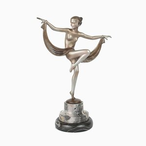 Viennese Art Deco Bronze Figure on a Marble Base by Lorenzl, 1930