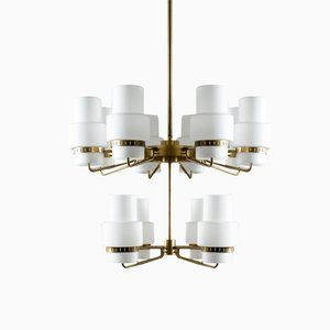 Large Mid-Century Swedish Brass & Opaline Glass Chandelier