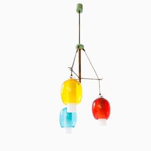 Lampada a sospensione nei colori primari, Italia, anni '50