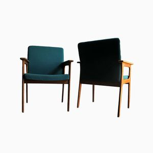 Danish Oak Lounge Chairs with Blue Upholstery, Set of 2