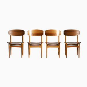 Model 122 Teak Dining Chairs by Børge Mogensen for Søborg, 1960s, Set of 4
