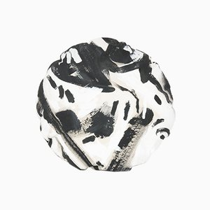 Black Two Hue Painted Circle Pillow