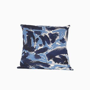 Blue Two Hue Painted Floor Cushion by Naomi Clark for Fort Makers