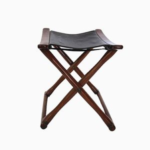 Danish Mahogany & Leather Folding Stool, 1970s