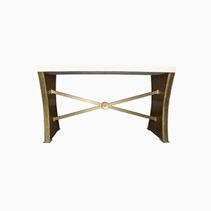Neoclassical Italian Travertine & Bronze Console, 1940s