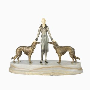 Viennese Art Deco Bronze Figure on a Marble Base by Joseph Lorenzl, 1930