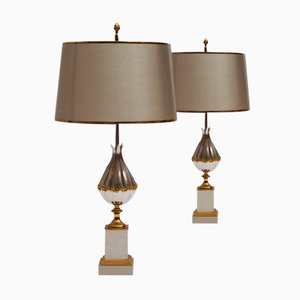 French Gilt Bronze Lotus Table Lamps from Maison Charles et Fils, 1950s, Set of 2