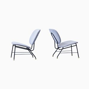 Metal Brass and Fabric Easy Chairs, 1950s, Set of 2