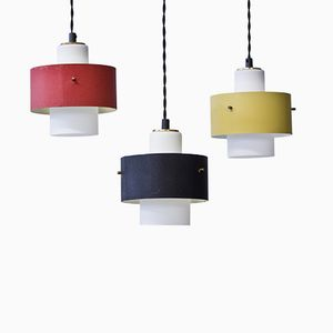 Black Yellow and Red Pendant Lamps, 1950s, Set of 3