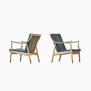 Danish Beech and Teak Easy Chairs by Hvidt & Mølgaard for France & Daverkosen, 1950s, Set of 2