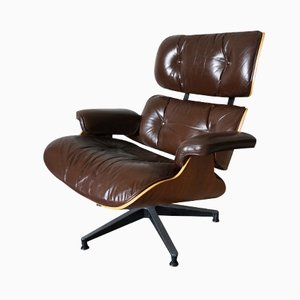 American Model 670 Walnut, Aluminium and Leather Swivel Chair by Charles and Ray Eames for Herman Miller, 1956