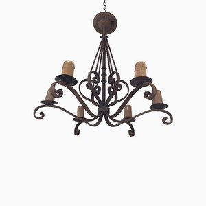 Six Candle Lamp Wrought Iron Chandelier, 1920s