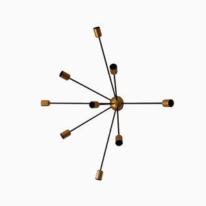 Vintage Sputnik Lampe mit 9 Leuchten in Schwarz & Gold von Juanma Lizana