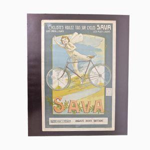 Litografia vintage di bicicletta di F. Collins, Belgio