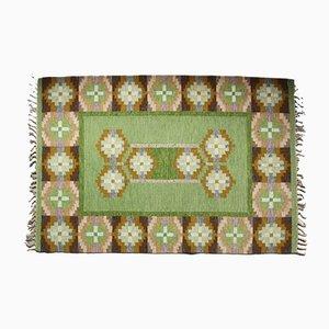 Swedish Green Flat Weave Rölakan Carpet by Ingegerd Silow