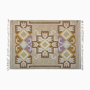 Beigefarbener Rölakan Flachgewebe Teppich von Ingegerd Silow