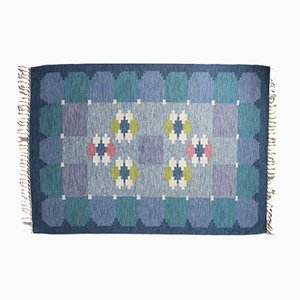 Gewebter Schwedischer Blauer Rölakan Teppich von Ingegerd Silow