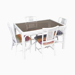 White Rattan Dining Set with Four Chairs in Missoni Fabric