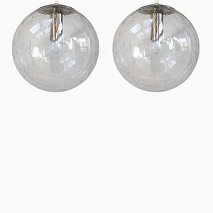 Lampade da soffitto vintage in vetro di Frank Ligtelijn per Raak, anni '60, set di 2
