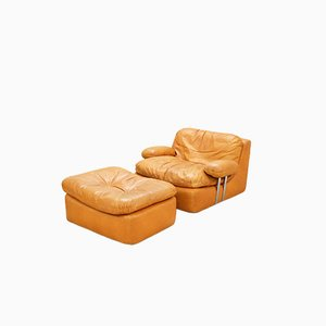 Vintage Cognac Lounge Chair and Ottoman from Dreipunkt International