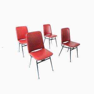 Italian Iron & Skai Dining Chairs, 1950s, Set of 4