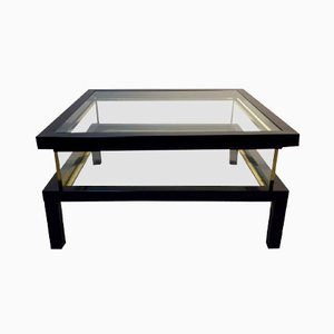 Hollywood Regency Sliding Top Brass Coffee Table by Romeo Rega