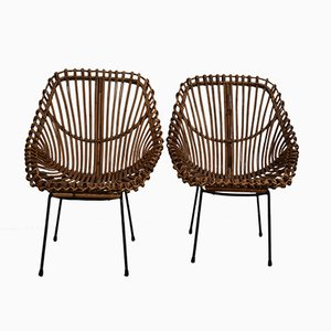 Italian Giunco Rattan Chairs, 1950s, Set of 2
